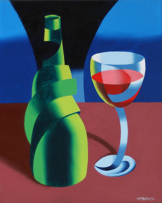 Abstract Painting - Abstract Geometric Wine Glass And Bottle by Mark Webster