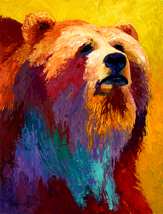 Western Painting - Abstract Grizz by Marion Rose