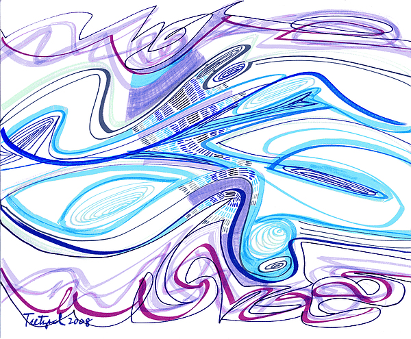 Abstract Drawing - Abstract Pen Drawing Forty-two by Lynne Taetzsch