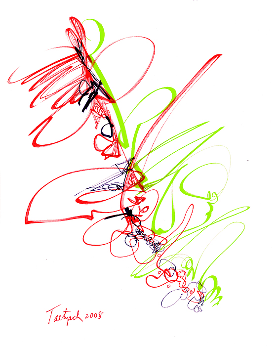 Abstract Drawing - Abstract Pen Drawing Seventy by Lynne Taetzsch