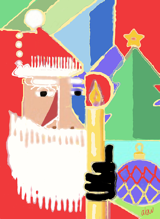 Christmas Cards Digital Art - Abstract Santa by Arline Wagner