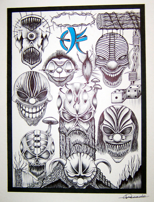 Abstract Skulls Killer Clowns Barb Wire Drawing by Woulstain Creado
