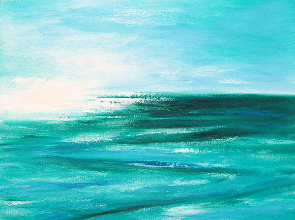Abstracts Painting - Abstract Sunset In Blue And Green 2 by Gina De Gorna