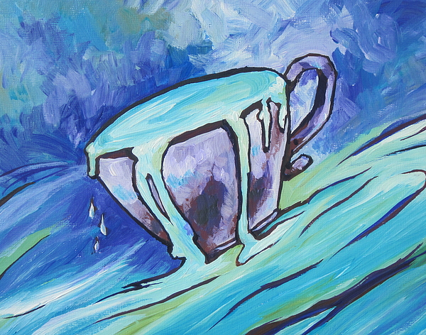 Cup Painting - Abundance - My Cup Runneth Over by Sandy Tracey