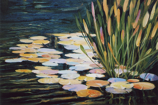 Pond Painting - Across The Pond by Ed Lucey