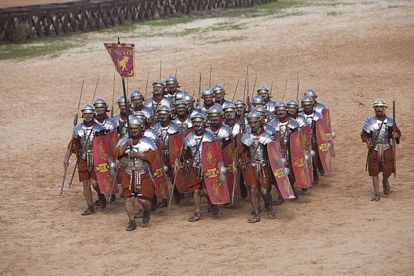 Ruins Photograph - Actors Re-enact A Roman Legionaries by Taylor S. Kennedy