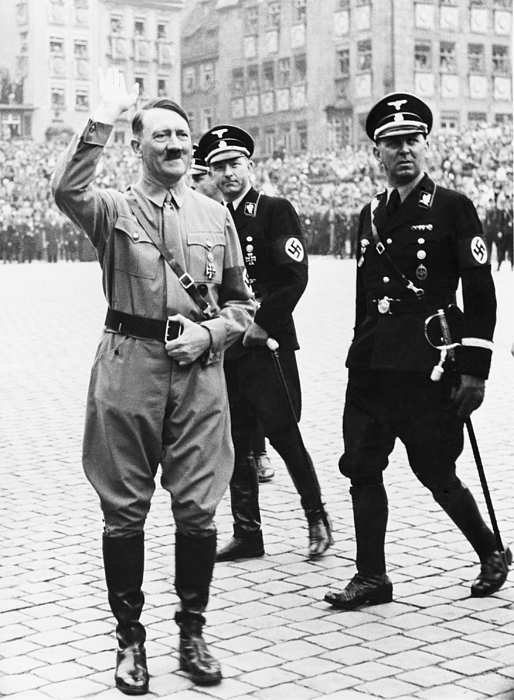 History Photograph - Adolf Hitler Saluting, With Two Ss by Everett