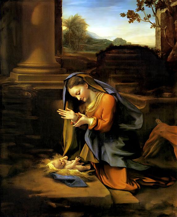 Correggio Painting - Adoration Of The Child by Correggio