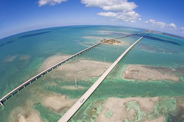 Day Photograph - Aerial Of Seven Mile Bridge At Extreme by Mike Theiss