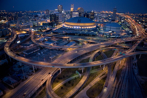 Night Photograph - Aerial Of The Superdome In The Downtown by Tyrone Turner