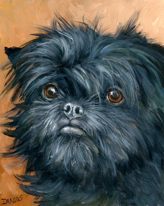 Affenpinscher Painting - Affenpinscher Portrait by Dottie Dracos