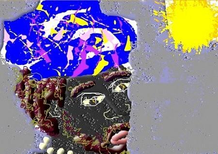 Africa Digital Art - Africa Blue  Head Silk by Chevassus-agnes Jean-pierre
