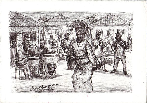 African Dance Drawing By Wale Adeoye