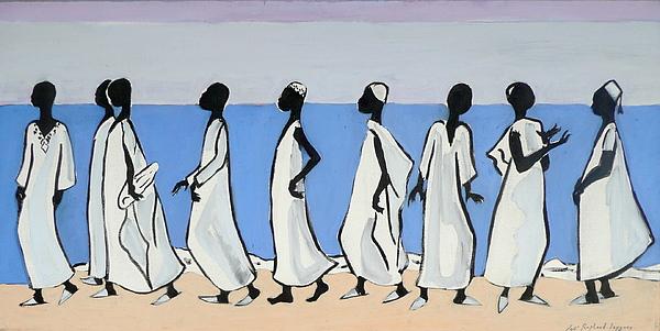 African Men Walking 1 Painting by Celine Raphael-Leygues