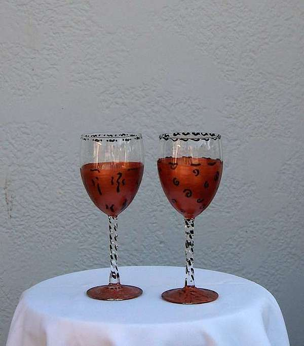 Painted Glass Art - African Pattern Wine Glasses by Lois Niesen