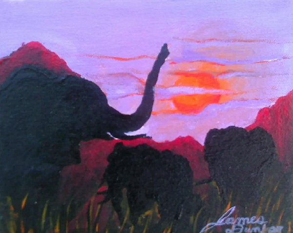 African Purple Sunset Painting by Portland Art Creations