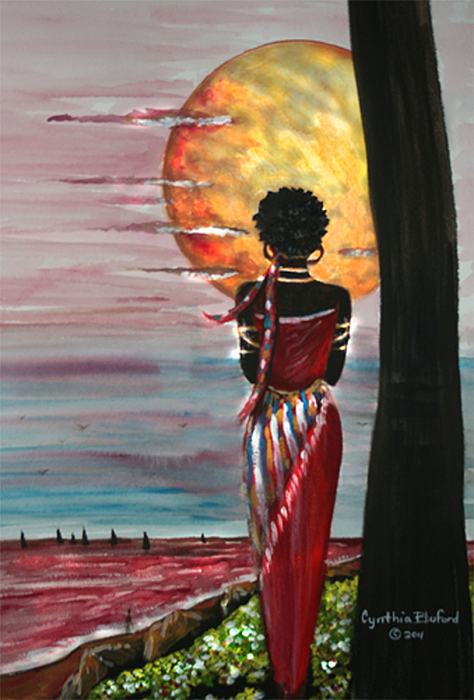 African Queen Painting By Cynthia Bluford