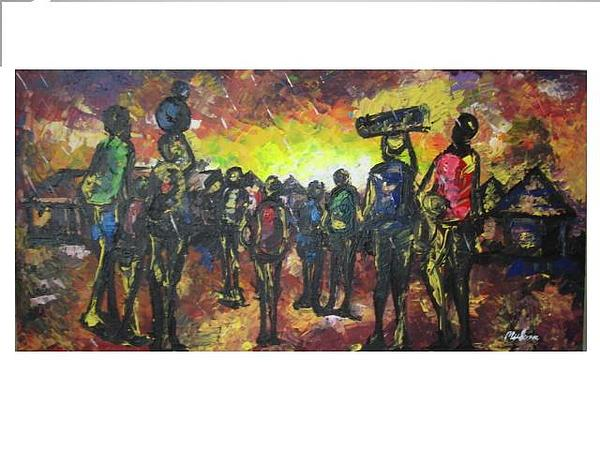 Bm Painting - African Villagers by Muheme BISIMWA