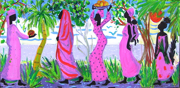 African Women In Pink And Red Mixed Media by Celine Raphael-Leygues