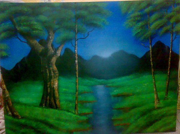 Tree Painting - After Bob Ross by Tamer Elsamahy