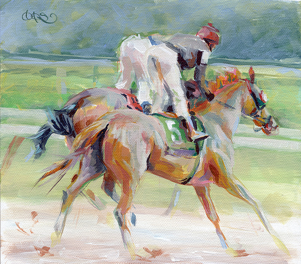 Race Track Painting - After The Finish by Kimberly Santini