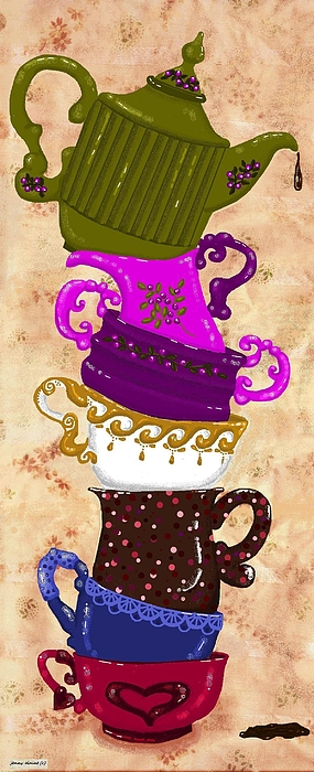 Teacup Digital Art - After The Tea Party The Love Goes On by Jenny Elaine
