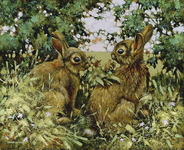 Rabbits Painting - After You by David Lyons