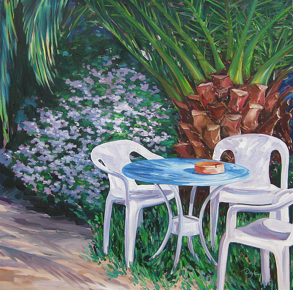 Palm Tree Painting - Afternoon Break by Karen Doyle
