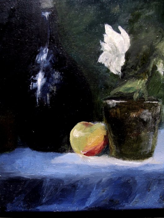White Flower Painting - Afternoon Still Life  by Susan Tilley