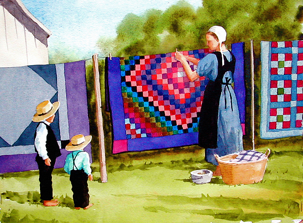 Amish Painting - Airing The Quilts by Faye Ziegler