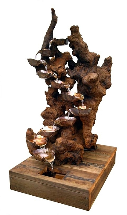 Garden Fountains Sculpture - Airy Redwood Burl Floor Fountain by Daryl Stokes