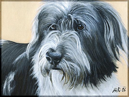 Dog Painting - Akio by Pia HiKi
