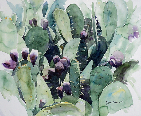 Alamo Prickly Pear Painting By Jeffrey S Perrine