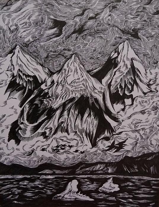 Pen And Ink Drawing - Alaska Song by Anna  Duyunova