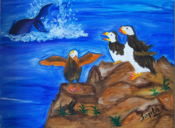 Landscape Painting - Alaskan Puffins And Whale by Sunita  Rathore Tanwar