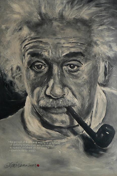 Portrait Painting - Albert Einstein by Eddie Lim