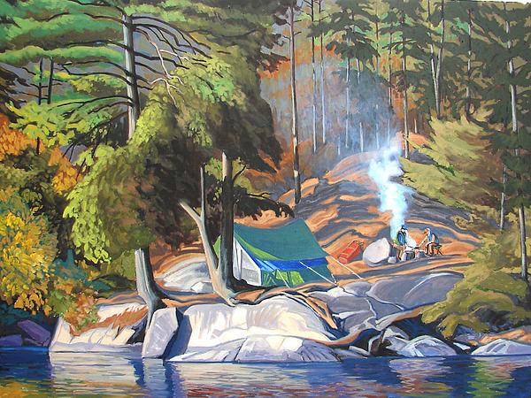 Landscape Painting - Algonquin Campsite by Paul Gauthier