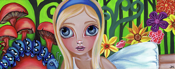 Alice Painting - Alice Meets The Caterpillar by Jaz Higgins