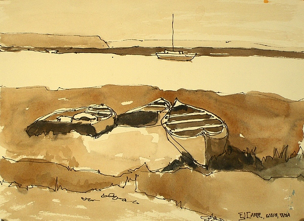Boats Painting - All Washed Up by Elizabeth Carr