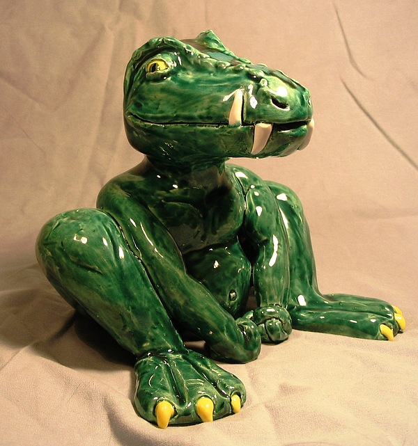 Alligator Sculpture - Alligator Gargoyle by Bob Dann