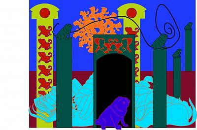 Pug Digital Art - Almost A Dog The Pug Palace by Shirley Sacks