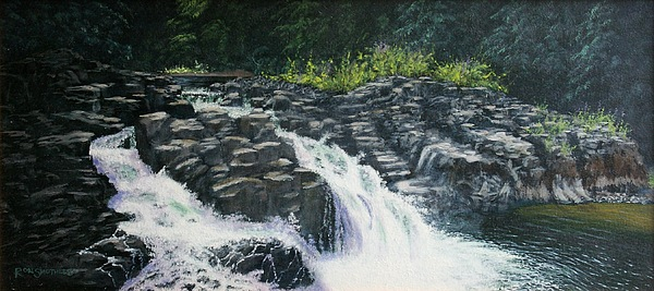 Waterscape Painting - Almost Home - Lucia Falls by Ron Smothers