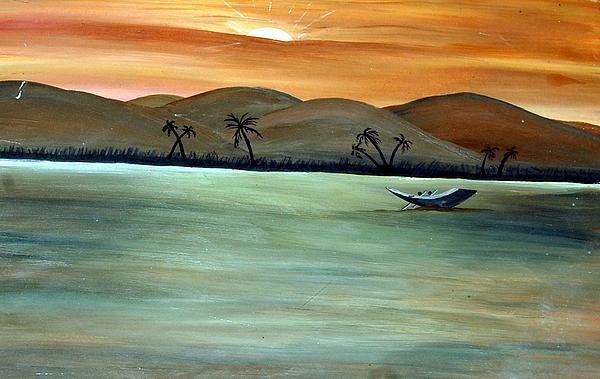 Landscape Painting - Alone Boat by Sonam Shine