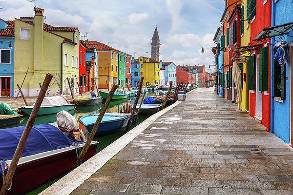 Burano Photograph - Along The Canal In Burano Island by Evgeni Dinev