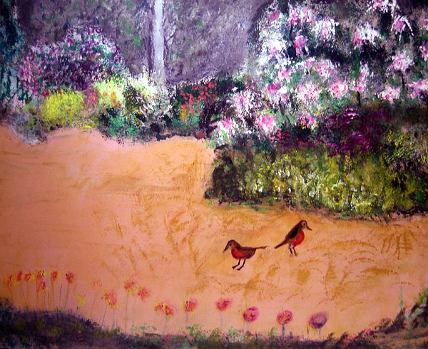 Landscape Painting - Along The Garden Path by Michela Akers