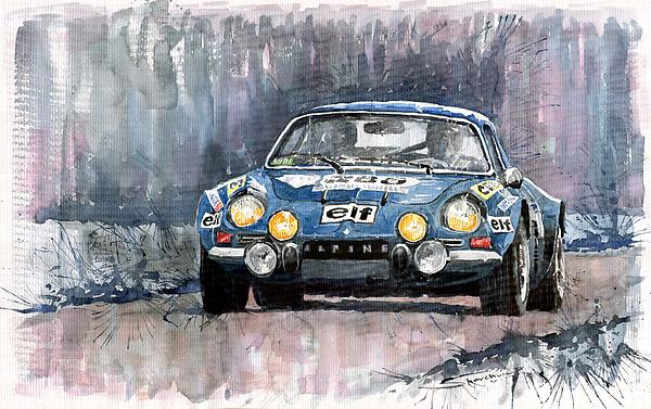 Watercolour Painting - Alpine A 110 by Yuriy  Shevchuk