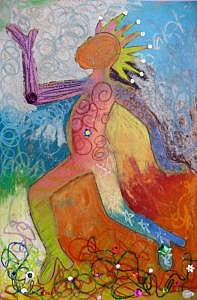 Oil Pastel Mixed Media - Alter Ego by Elizabeth Bure
