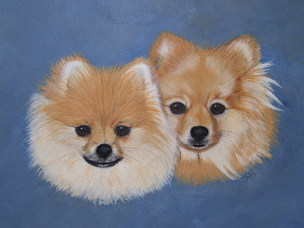 Pet Portrait Painting - Amber And Sandy by Janice M Booth
