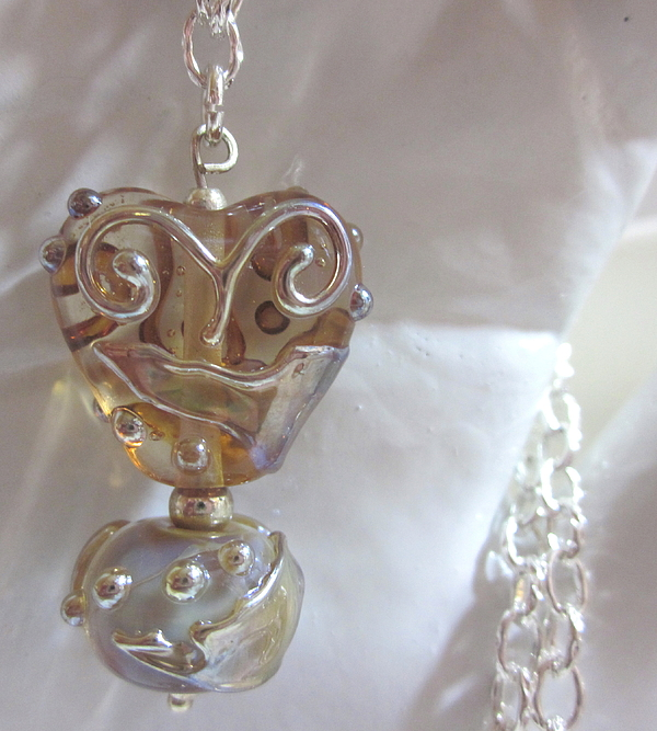 Handmade Jewelry - Amber Heart Necklace by Janet  Telander