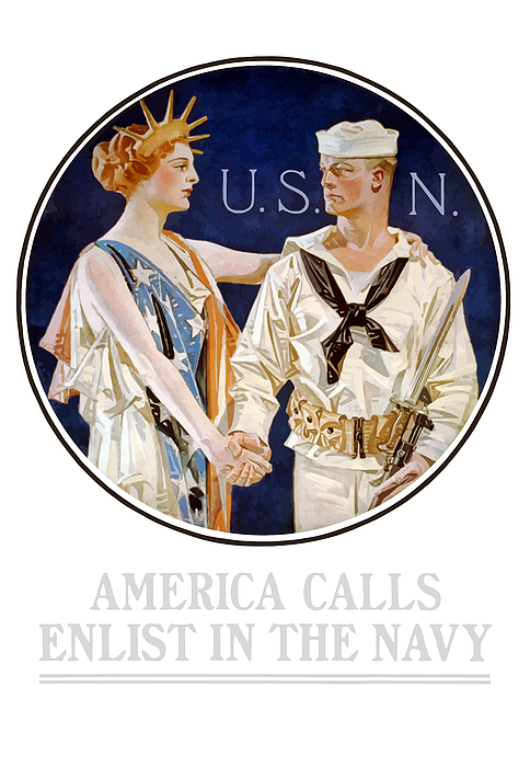 Navy Painting - America Calls Enlist In The Navy by War Is Hell Store
